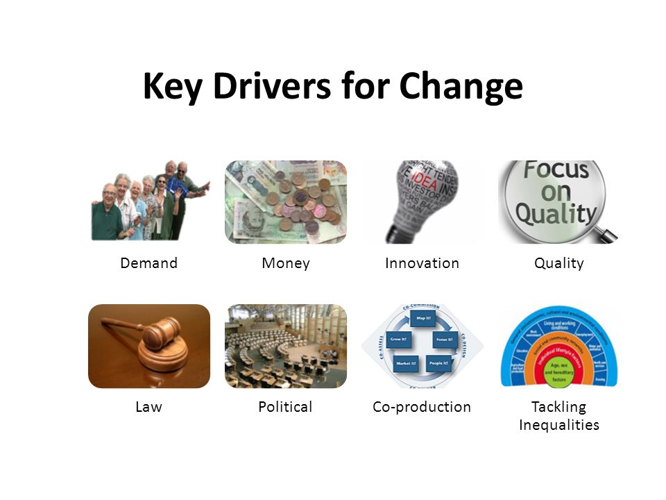 Key Drivers for Change DemandMoneyInnovationQuality LawPoliticalCo-productionTackling Inequalities