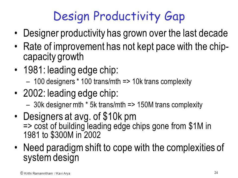 © Krithi Ramamritham / Kavi Arya 24 Design Productivity Gap Designer productivity has grown over the last decade Rate of improvement has not kept pace with the chip- capacity growth 1981: leading edge chip: –100 designers * 100 trans/mth => 10k trans complexity 2002: leading edge chip: –30k designer mth * 5k trans/mth => 150M trans complexity Designers at avg.