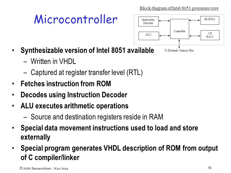 © Krithi Ramamritham / Kavi Arya 56 Microcontroller Synthesizable version of Intel 8051 available –Written in VHDL –Captured at register transfer level (RTL) Fetches instruction from ROM Decodes using Instruction Decoder ALU executes arithmetic operations –Source and destination registers reside in RAM Special data movement instructions used to load and store externally Special program generates VHDL description of ROM from output of C compiler/linker To External Memory Bus Controller 4K ROM 128 RAM Instruction Decoder ALU Block diagram of Intel 8051 processor core