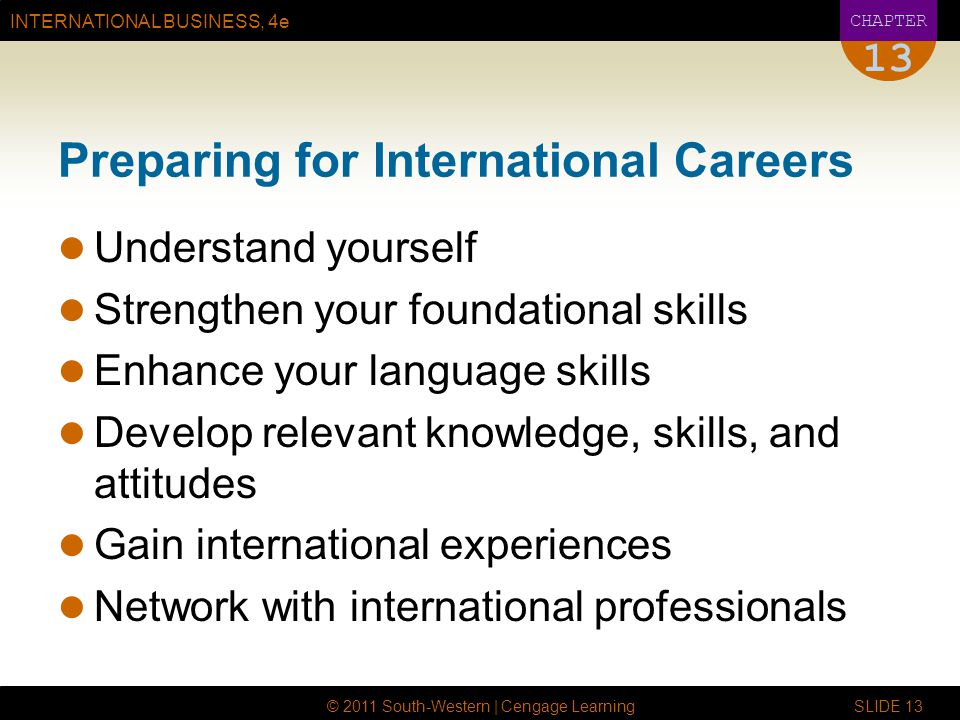 INTERNATIONAL BUSINESS, 4e CHAPTER © 2011 South-Western | Cengage Learning SLIDE Preparing for International Careers Understand yourself Strengthen your foundational skills Enhance your language skills Develop relevant knowledge, skills, and attitudes Gain international experiences Network with international professionals