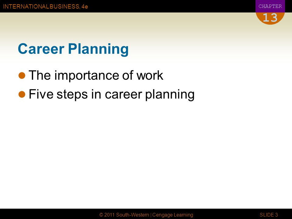 INTERNATIONAL BUSINESS, 4e CHAPTER © 2011 South-Western | Cengage Learning SLIDE 3 13 Career Planning The importance of work Five steps in career planning