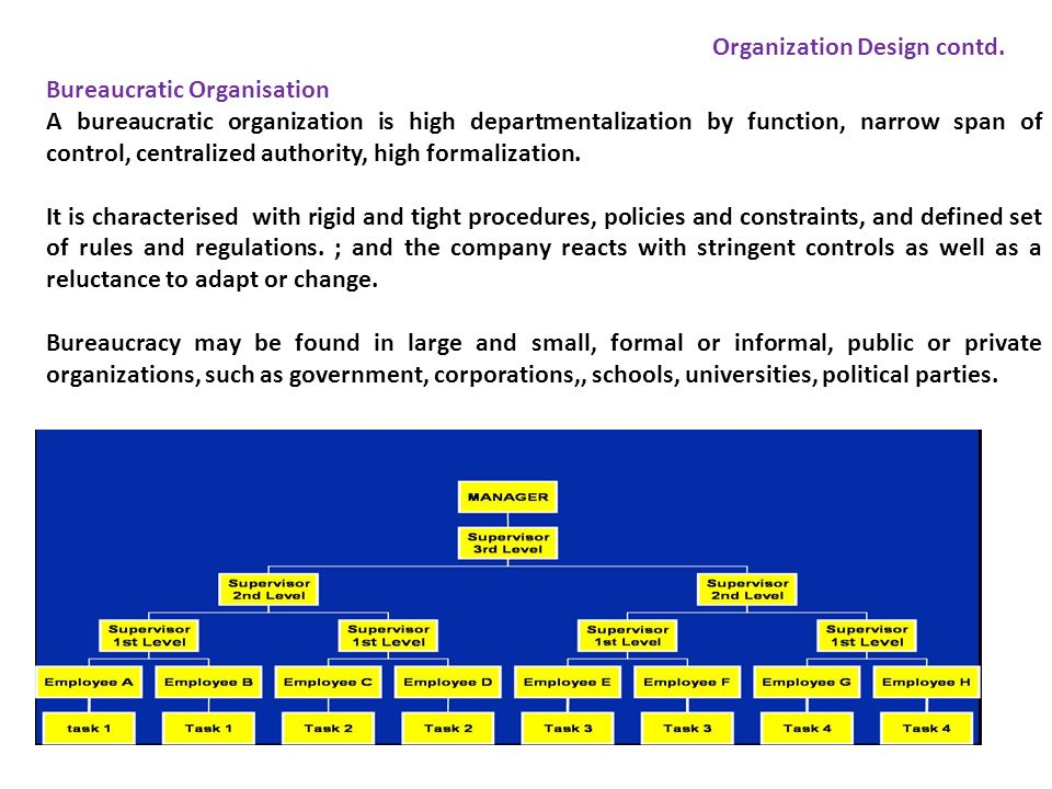 Bureaucratic Organisation A bureaucratic organization is high departmentalization by function, narrow span of control, centralized authority, high for