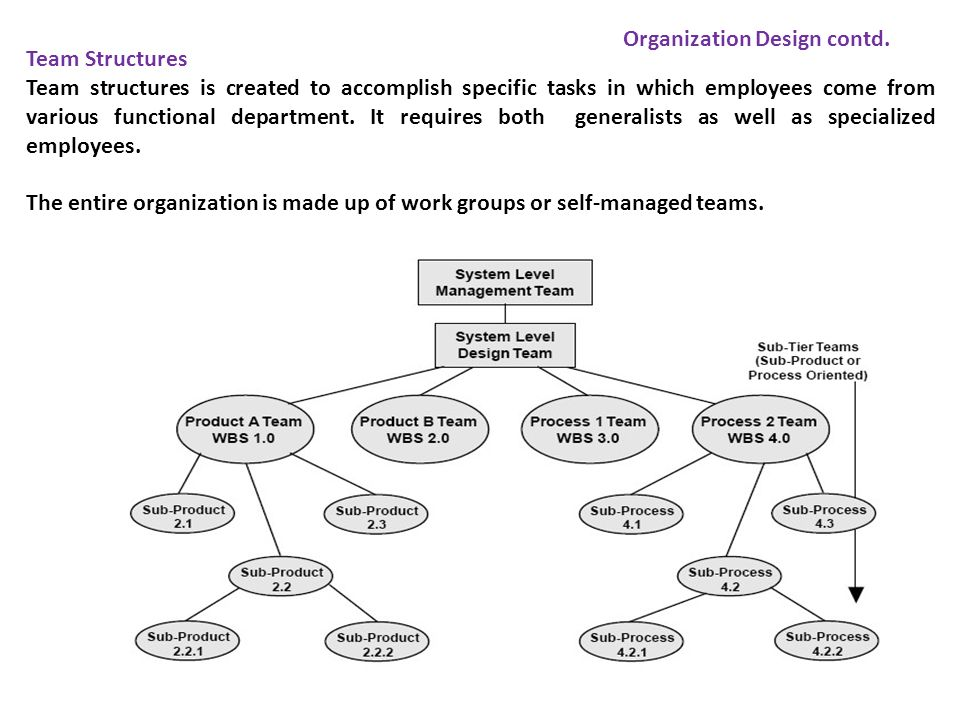 Team Structures Team structures is created to accomplish specific tasks in which employees come from various functional department. It requires both g