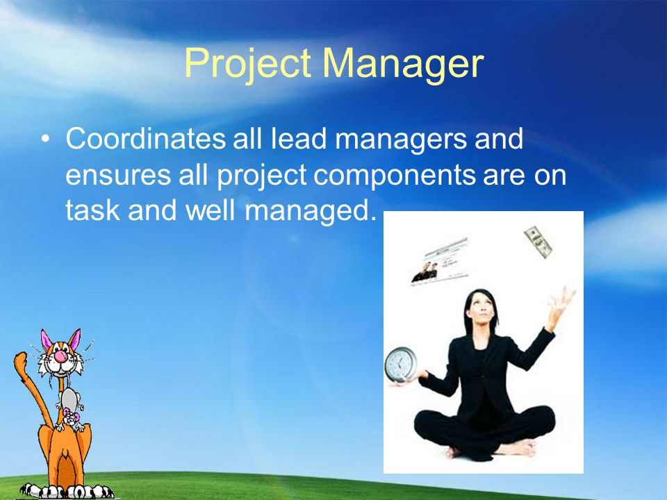 Project Manager Coordinates all lead managers and ensures all project components are on task and well managed.