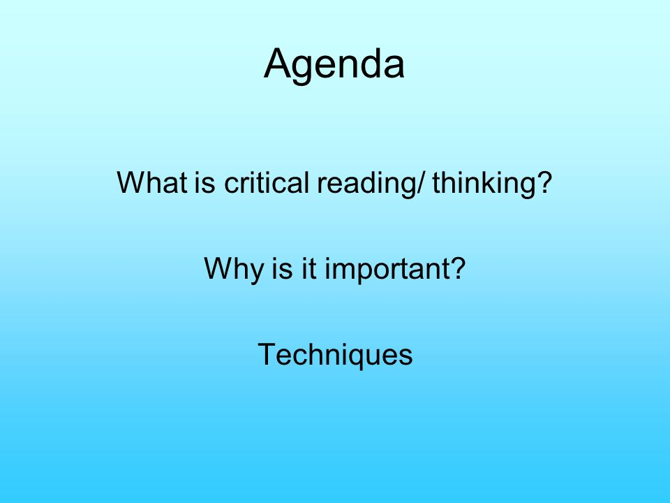 Critical thinking importance