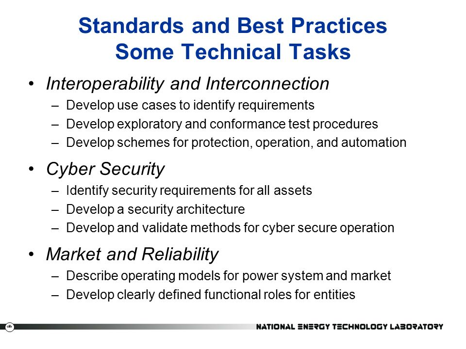 20 Standards and Best Practices Some Technical Tasks Interoperability and Interconnection –Develop use cases to identify requirements –Develop exploratory and conformance test procedures –Develop schemes for protection, operation, and automation Cyber Security –Identify security requirements for all assets –Develop a security architecture –Develop and validate methods for cyber secure operation Market and Reliability –Describe operating models for power system and market –Develop clearly defined functional roles for entities
