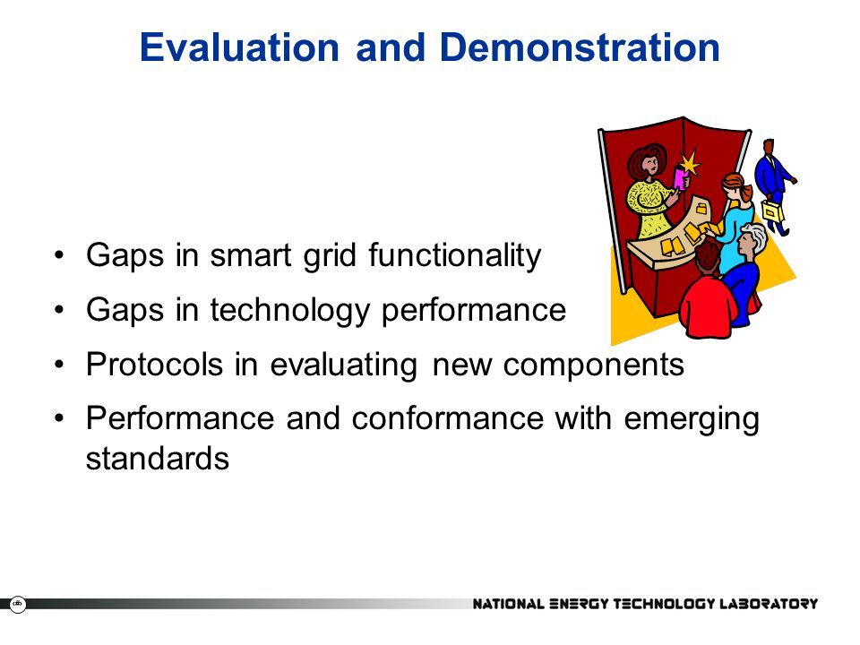30 Evaluation and Demonstration Gaps in smart grid functionality Gaps in technology performance Protocols in evaluating new components Performance and conformance with emerging standards