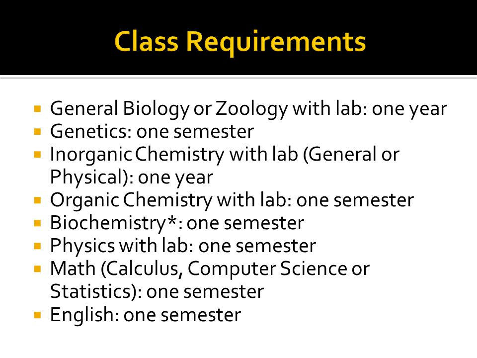  General Biology or Zoology with lab: one year  Genetics: one semester  Inorganic Chemistry with lab (General or Physical): one year  Organic Chemistry with lab: one semester  Biochemistry*: one semester  Physics with lab: one semester  Math (Calculus, Computer Science or Statistics): one semester  English: one semester
