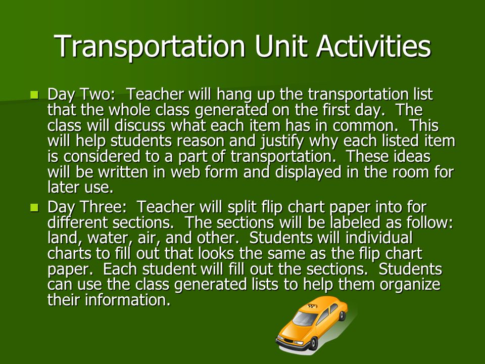 Transportation Unit Activities Day Two: Teacher will hang up the transportation list that the whole class generated on the first day.
