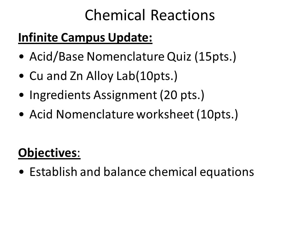 Chemical Reactions Chemical Reactions Study Guide Chpt 94 Acids – Acid Nomenclature Worksheet