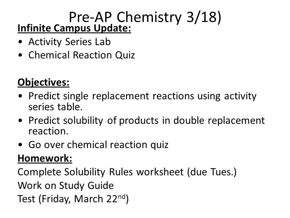 Chemical Reactions Chemical Reactions Study Guide Chpt 94 Acids – Solubility Rules Worksheet
