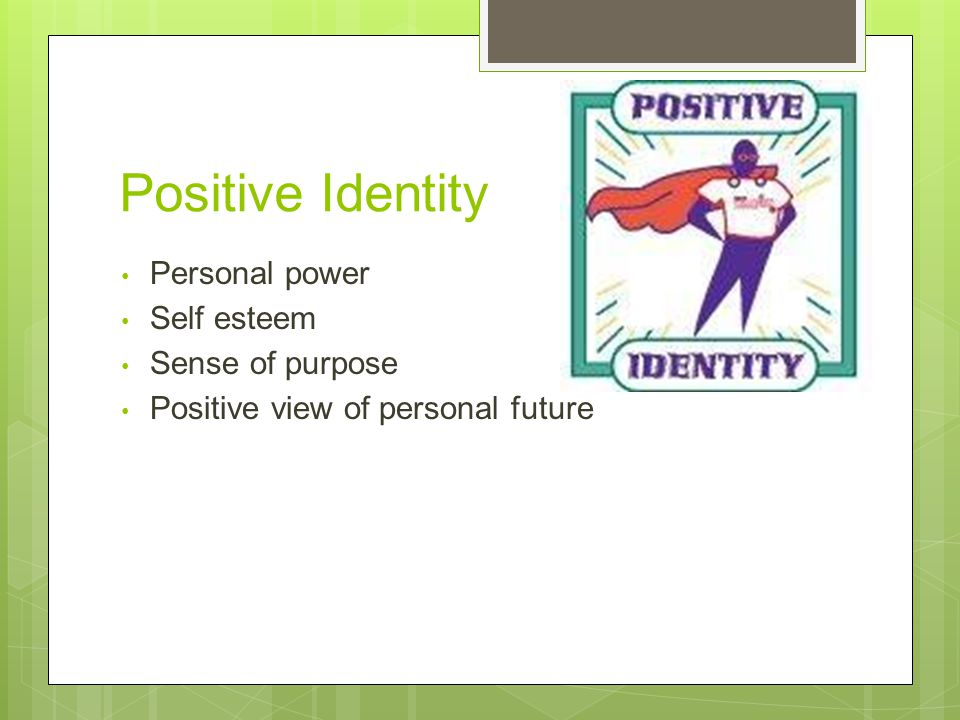 Positive Identity Personal power Self esteem Sense of purpose Positive view of personal future
