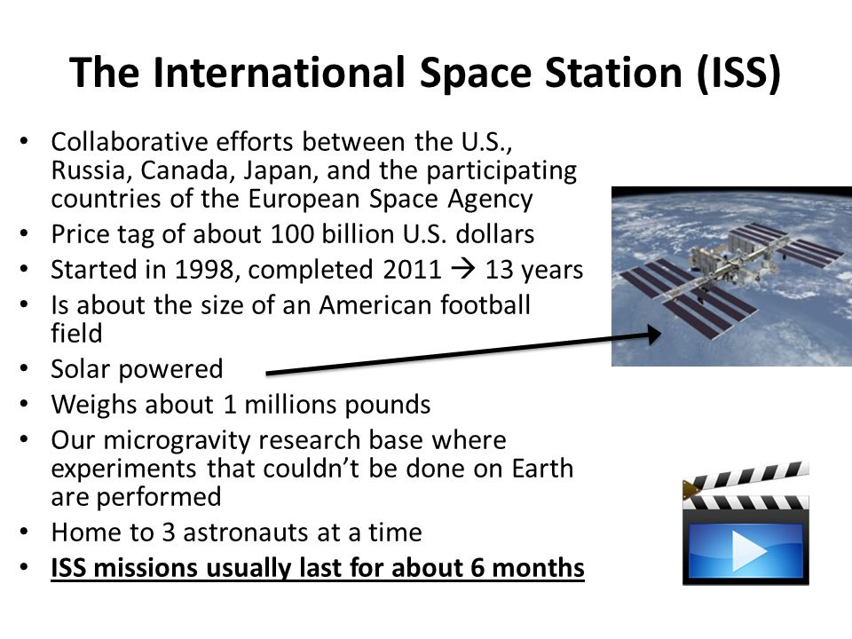 The International Space Station (ISS) Collaborative efforts between the U.S., Russia, Canada, Japan, and the participating countries of the European Space Agency Price tag of about 100 billion U.S.