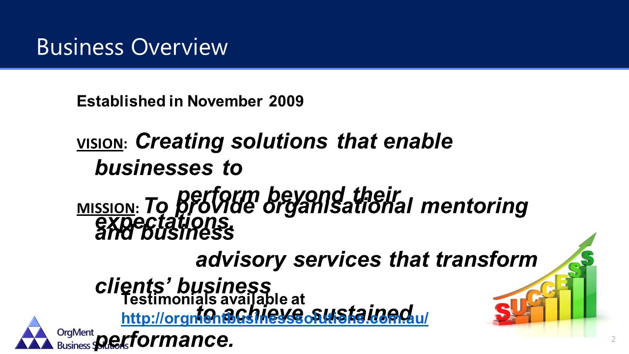 Established in November 2009 VISION: Creating solutions that enable businesses to perform beyond their expectations.
