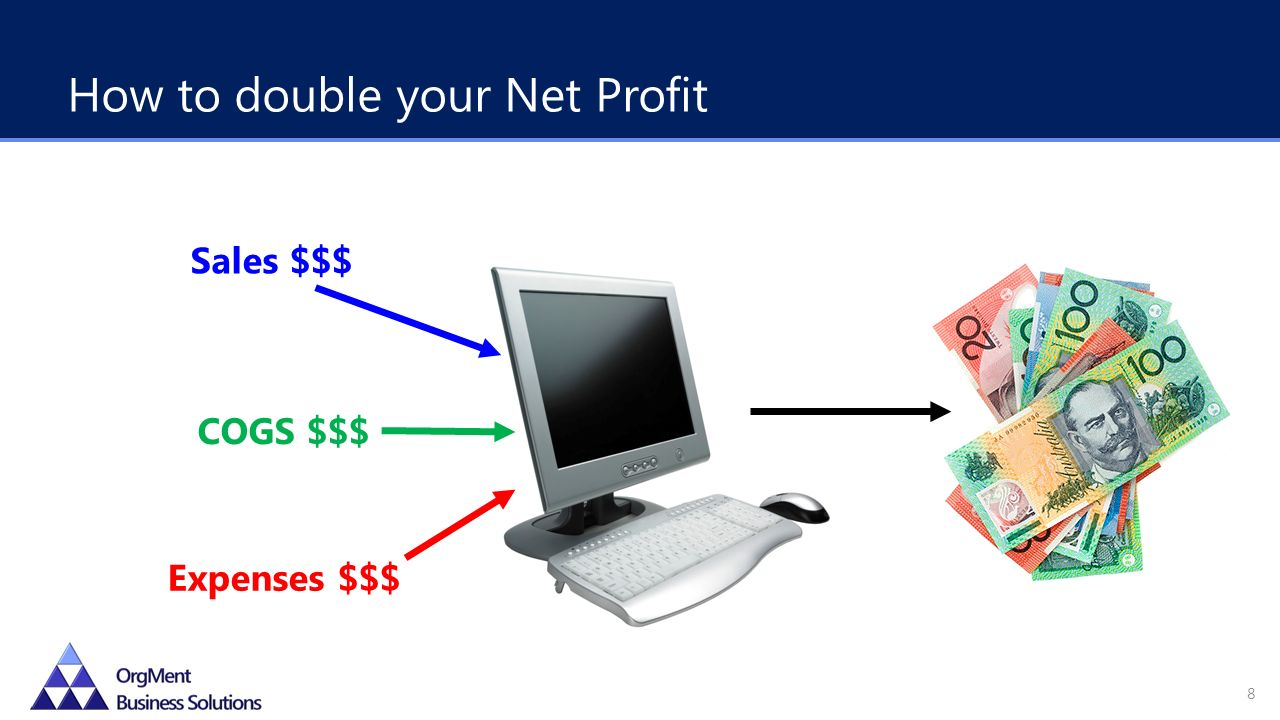 How to double your Net Profit 8 Sales $$$ COGS $$$ Expenses $$$