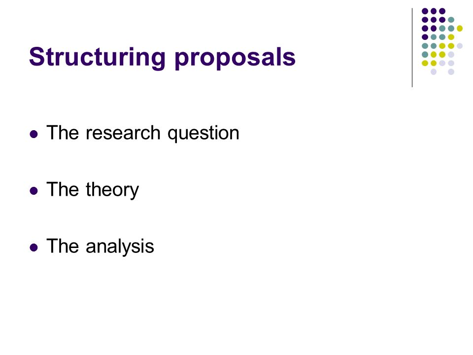 Structuring proposals The research question The theory The analysis