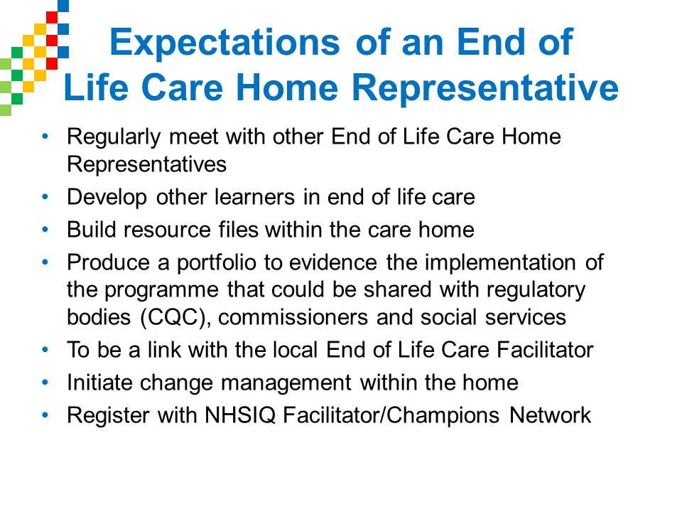 Expectations of an End of Life Care Home Representative Regularly meet with other End of Life Care Home Representatives Develop other learners in end of life care Build resource files within the care home Produce a portfolio to evidence the implementation of the programme that could be shared with regulatory bodies (CQC), commissioners and social services To be a link with the local End of Life Care Facilitator Initiate change management within the home Register with NHSIQ Facilitator/Champions Network