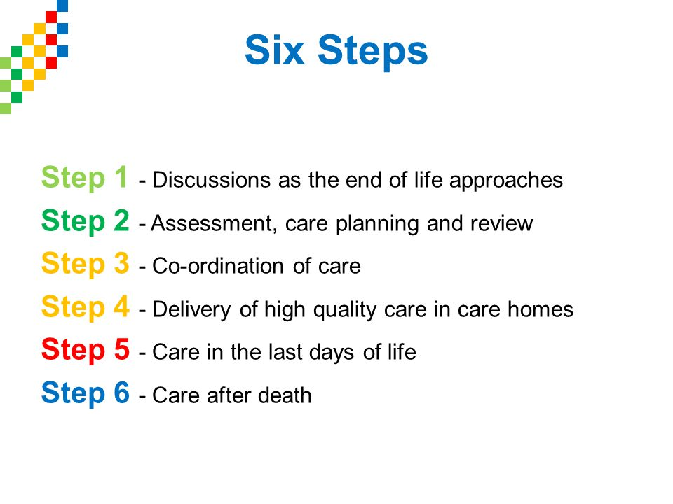 Six Steps Step 1 - Discussions as the end of life approaches Step 2 - Assessment, care planning and review Step 3 - Co-ordination of care Step 4 - Delivery of high quality care in care homes Step 5 - Care in the last days of life Step 6 - Care after death