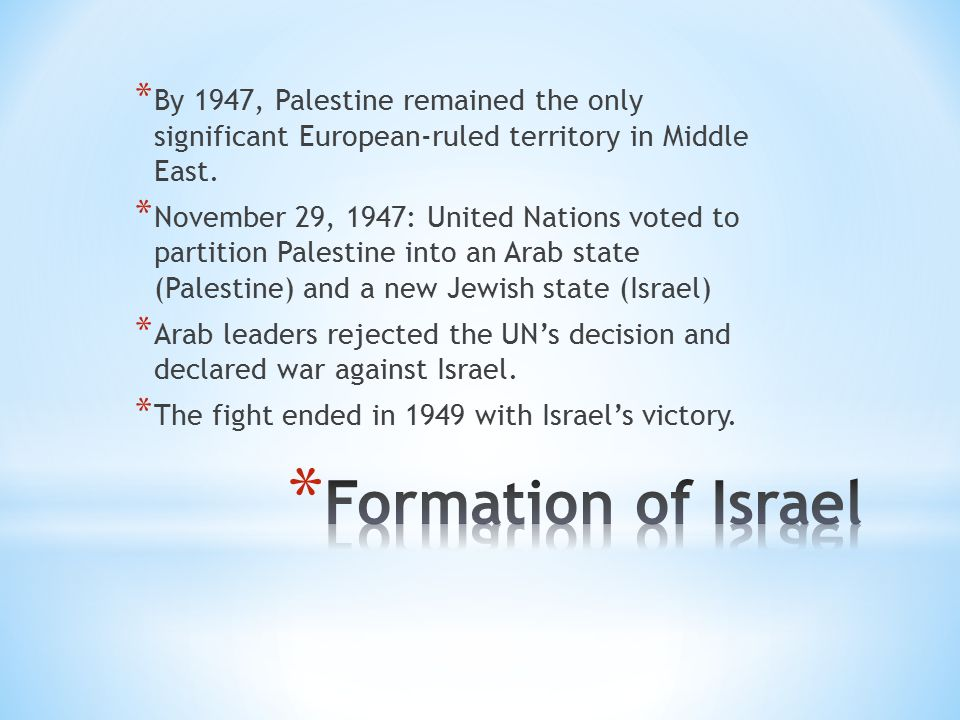 * By 1947, Palestine remained the only significant European-ruled territory in Middle East.