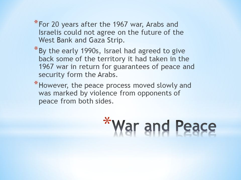 * For 20 years after the 1967 war, Arabs and Israelis could not agree on the future of the West Bank and Gaza Strip.