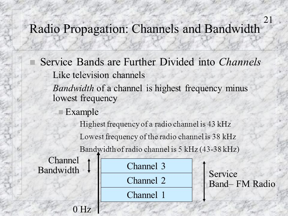 21 Radio Propagation: Channels and Bandwidth n Service Bands are Further Divided into Channels – Like television channels – Bandwidth of a channel is highest frequency minus lowest frequency n Example – Highest frequency of a radio channel is 43 kHz – Lowest frequency of the radio channel is 38 kHz – Bandwidth of radio channel is 5 kHz (43-38 kHz) 0 Hz Channel 3 Channel 2 Channel 1 Service Band– FM Radio Channel Bandwidth