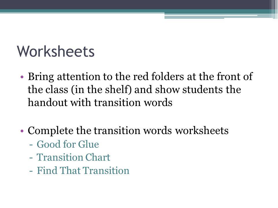Transition Words Worksheet Worksheet – Transition Words Worksheet