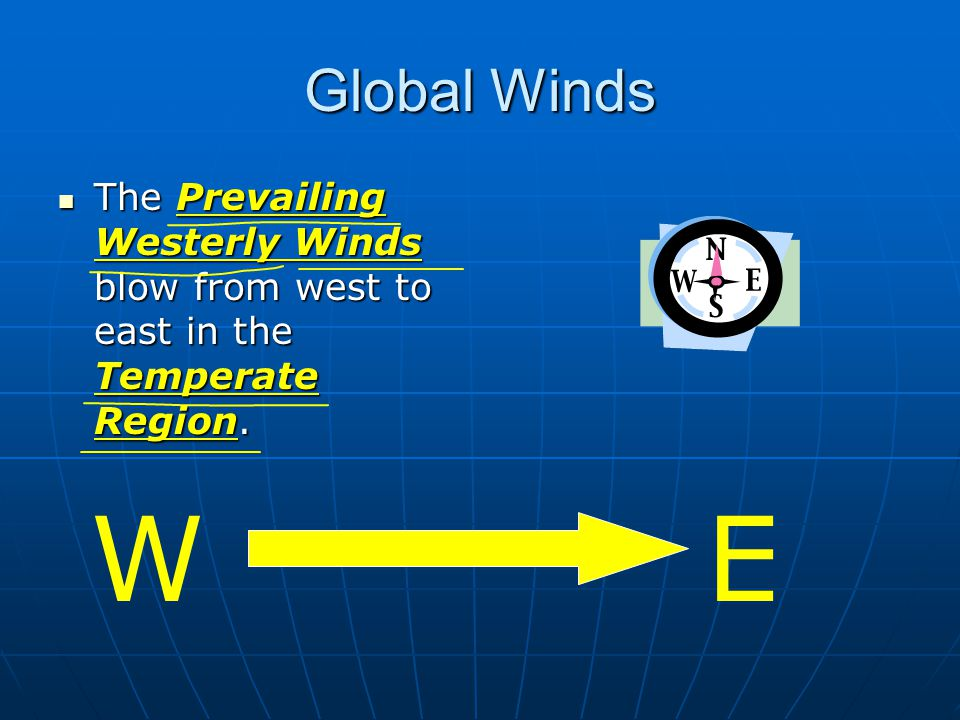 Global Winds The Prevailing Westerly Winds blow from west to east in the Temperate Region.