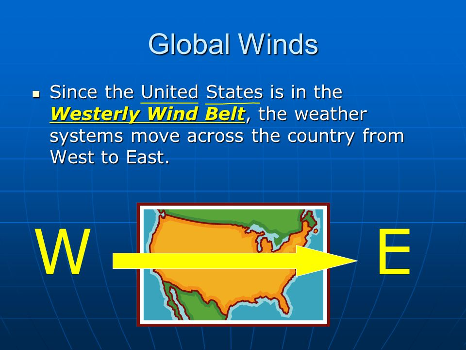 Global Winds Since the United States is in the Westerly Wind Belt, the weather systems move across the country from West to East.