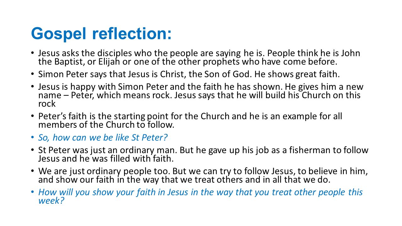 Gospel reflection: Jesus asks the disciples who the people are saying he is.
