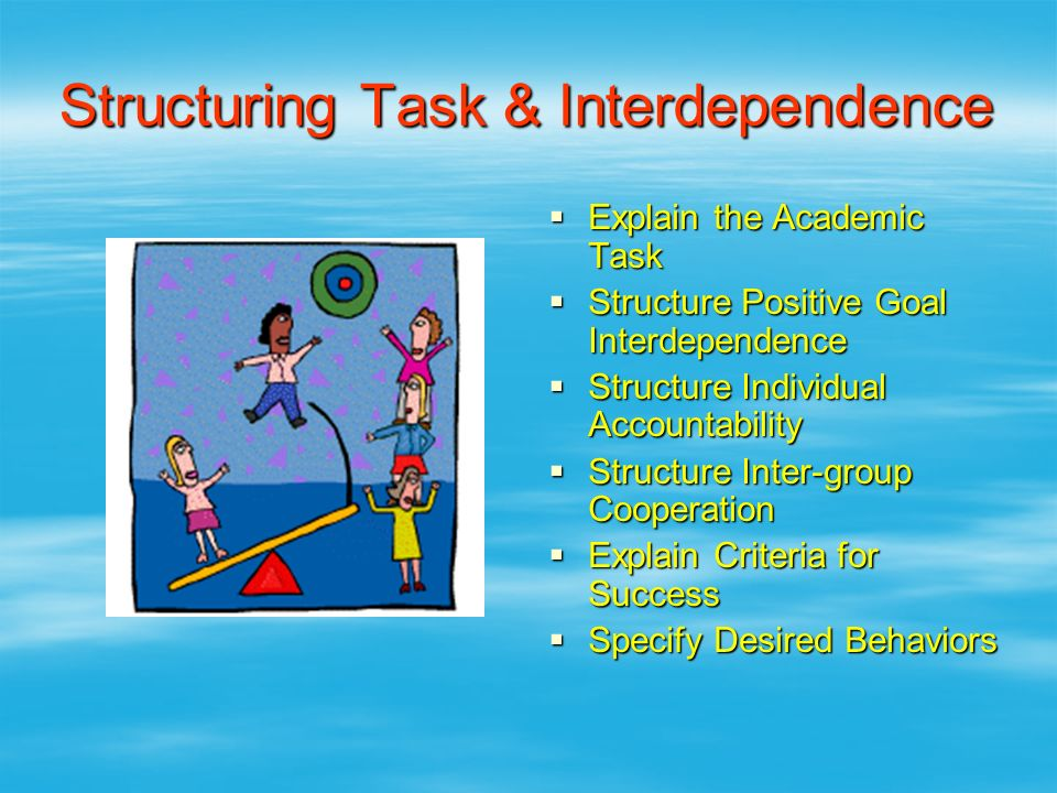 Structuring Task & Interdependence  Explain the Academic Task  Structure Positive Goal Interdependence  Structure Individual Accountability  Struc