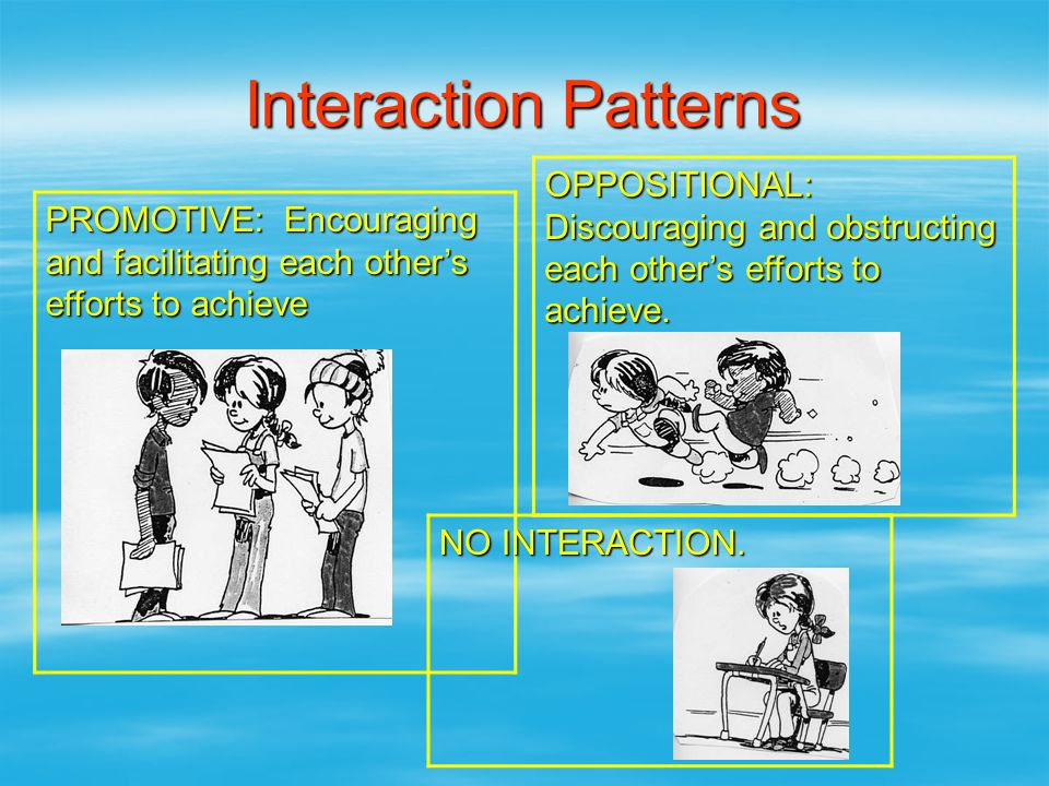 Interaction Patterns PROMOTIVE: Encouraging and facilitating each other's efforts to achieve OPPOSITIONAL: Discouraging and obstructing each other's e