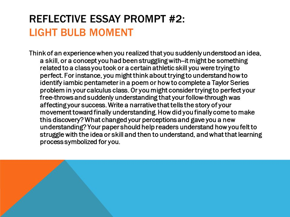 reflective essay guidelines A self-reflective essay is a brief paper where you describe an experience and how it has changed you or helped you to grow self-reflective essays often require students to reflect on their academic growth from specific projects or assignments, though others might require you to think about the impact of a specific.
