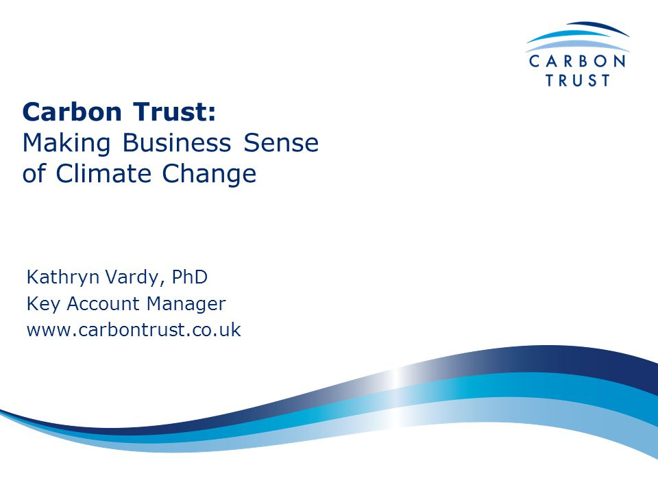Carbon Trust: Making Business Sense of Climate Change Kathryn Vardy, PhD Key Account Manager