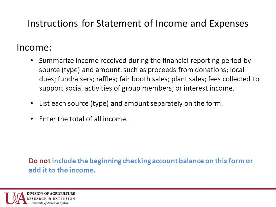 Instructions for Statement of Income and Expenses Income: Summarize income received during the financial reporting period by source (type) and amount, such as proceeds from donations; local dues; fundraisers; raffles; fair booth sales; plant sales; fees collected to support social activities of group members; or interest income.