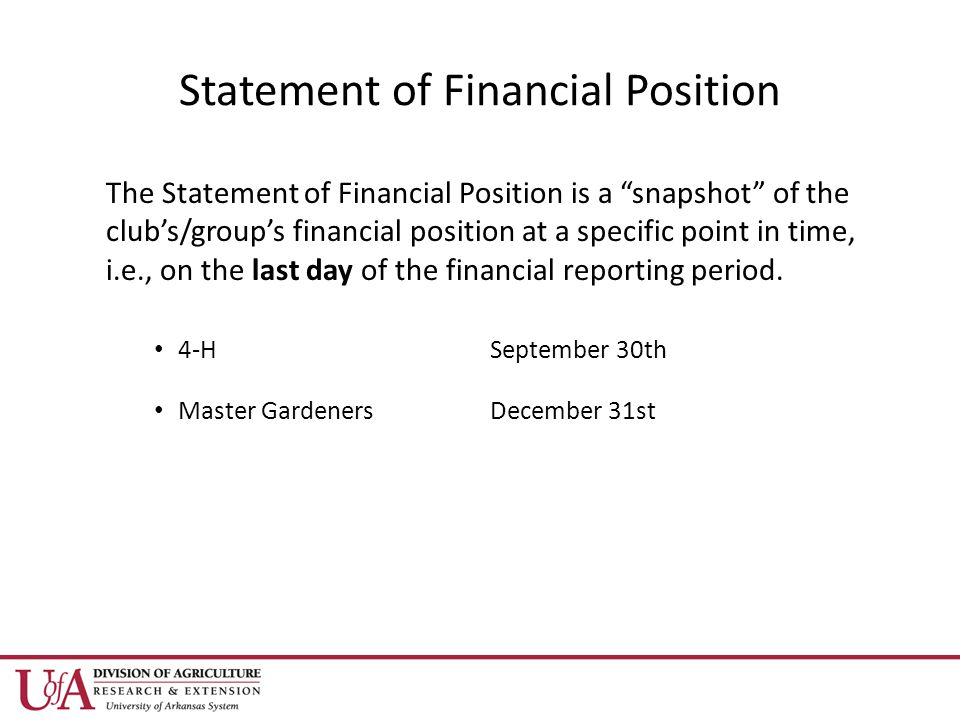Statement of Financial Position The Statement of Financial Position is a snapshot of the club's/group's financial position at a specific point in time, i.e., on the last day of the financial reporting period.