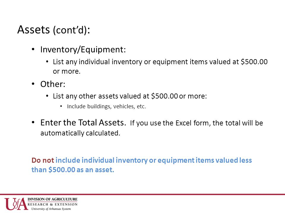 Assets (cont'd) : Inventory/Equipment: List any individual inventory or equipment items valued at $ or more.