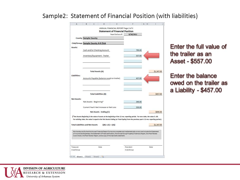 Sample2: Statement of Financial Position (with liabilities)