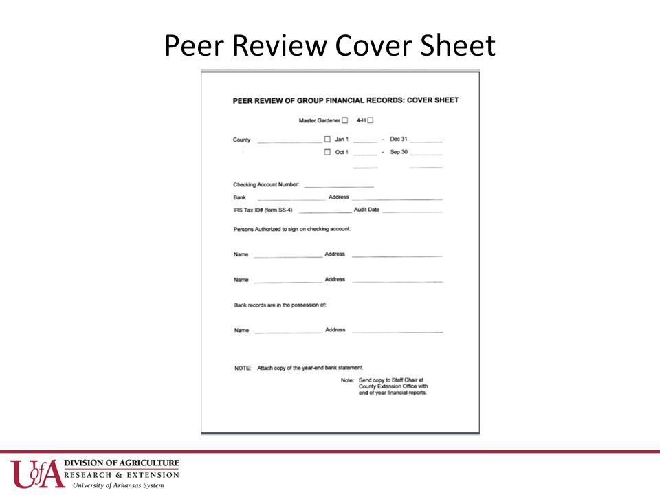Peer Review Cover Sheet