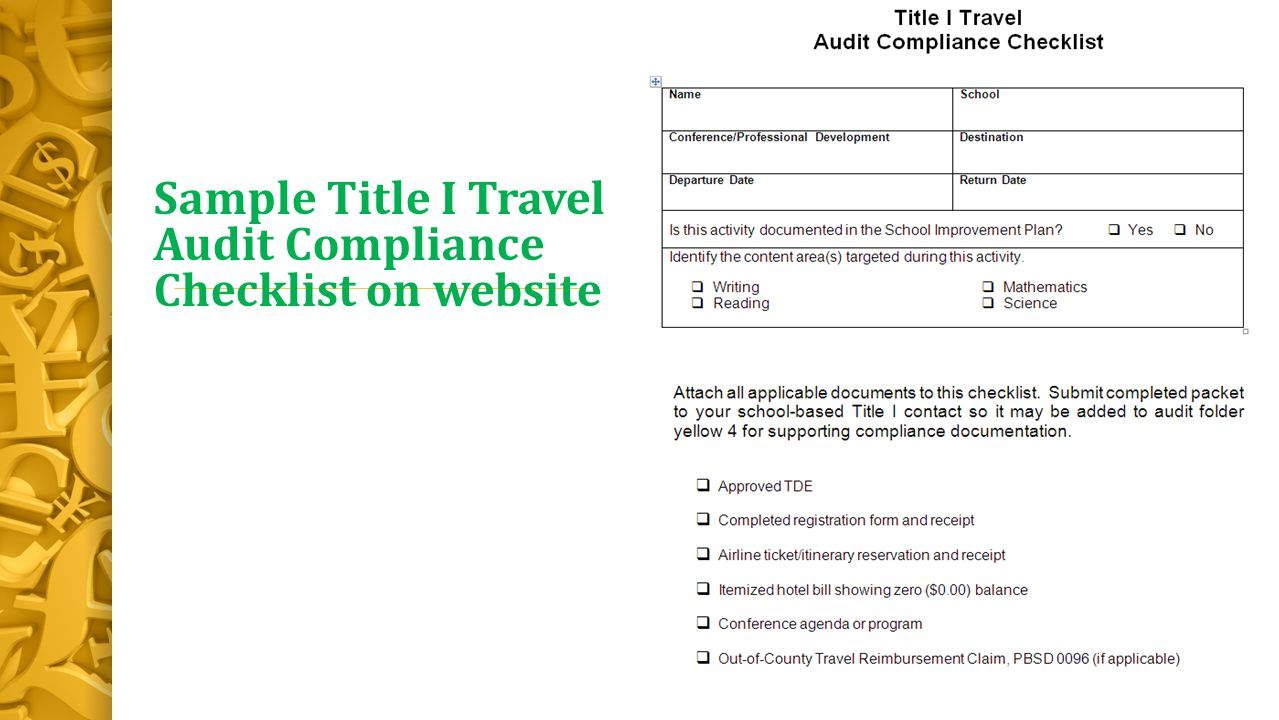 Sample Title I Travel Audit Compliance Checklist on website