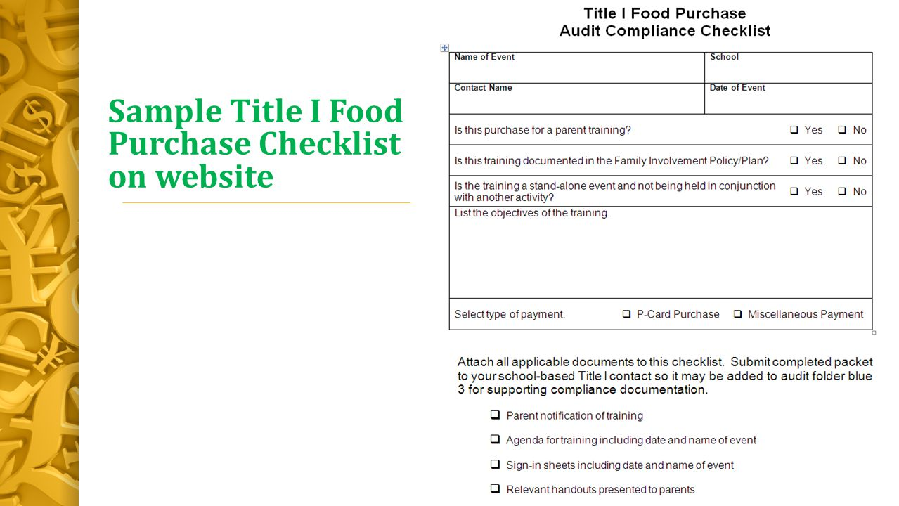 Sample Title I Food Purchase Checklist on website
