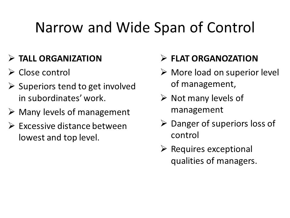 Narrow and Wide Span of Control  TALL ORGANIZATION  Close control  Superiors tend to get involved in subordinates' work.