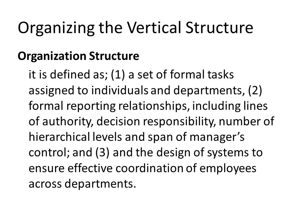 Organization Chart : The characteristics of vertical structure are portrayed in the organization structure.