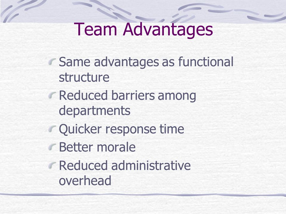 Team Advantages Same advantages as functional structure Reduced barriers among departments Quicker response time Better morale Reduced administrative