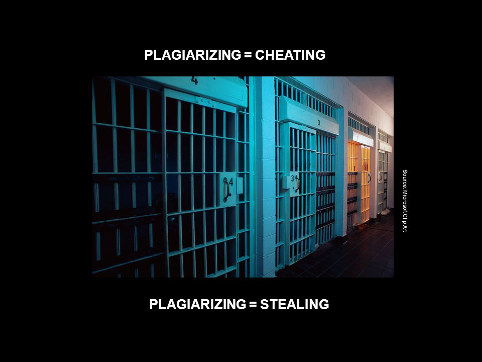 PLAGIARIZING = CHEATING PLAGIARIZING = STEALING Source: Microsoft Clip Art
