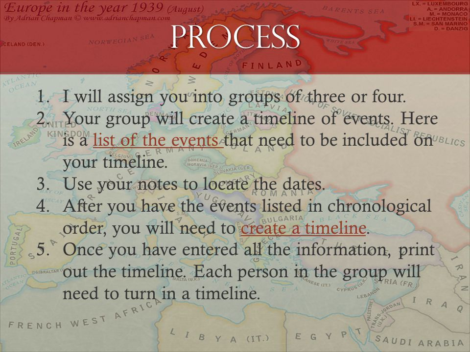 Process 1.I will assign you into groups of three or four.