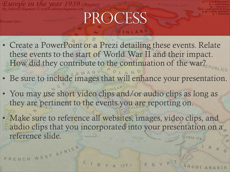 Process Create a PowerPoint or a Prezi detailing these events.