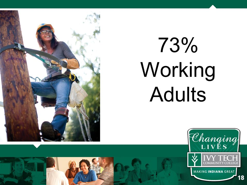 73% Working Adults 18