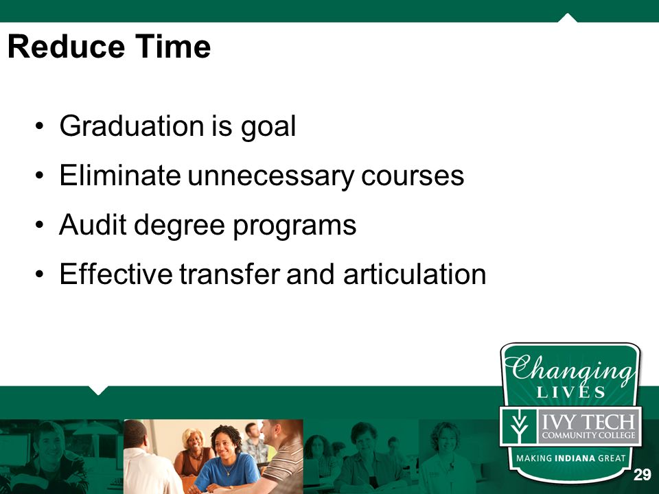 Graduation is goal Eliminate unnecessary courses Audit degree programs Effective transfer and articulation Reduce Time 29