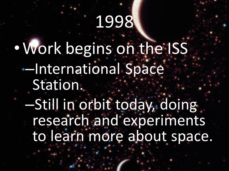 1998 Work begins on the ISS – International Space Station.