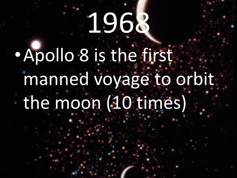 1968 Apollo 8 is the first manned voyage to orbit the moon (10 times)
